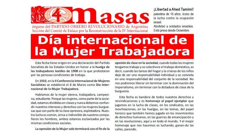Masas ed. especial 8 de Marzo Día Internacional de la mujer trabajadora