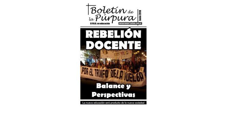 Rebelión Docente: Balance y Perspectivas [Boletín de la Púrpura – Junio 2018]